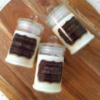Set of 3 Small Glass Jar black label range - Pure Soy Candles - you choose scents