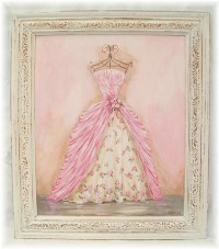 OP003 Stunning VIntage Gown Original Painting  HUGE SIZE  Genuine Antique Frame