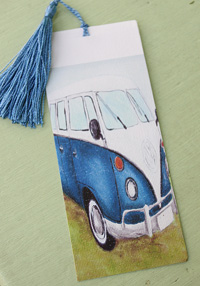 Bookmark printed on canvas with tassel - Blue Kombi Van