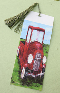 Bookmark printed on canvas with tassel - Red Vintage Car