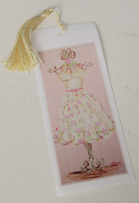 Bookmark printed on canvas with tassel - Pink rosy dress