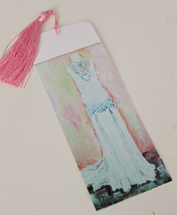 Bookmark printed on canvas with tassel - Willow