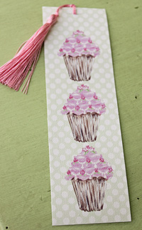 Bookmark printed on canvas with tassel - Cupcakes