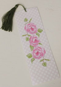 Bookmark printed on canvas with tassel - Roses