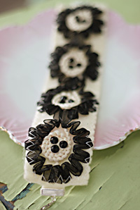 Sylvie black and cream with crystals cuff bracelet