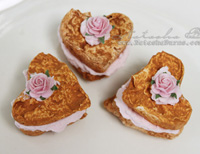 Handmade set of 3 small heart cookies
