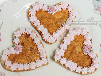 Handmade set of 3 heart cookies