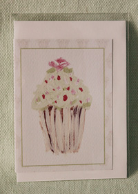 Greeting card - Green Cupcake