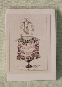 Greeting card - Swinging Bird Cake