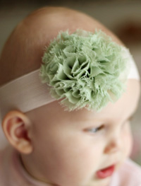 Blossom baby headband on wide elastic