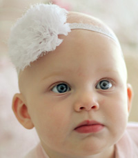 Eva baby headband on narrow elastic