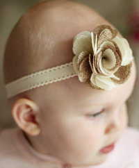 Isobel baby headband on cream elastic