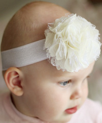 Lacey baby headband on wide elastic