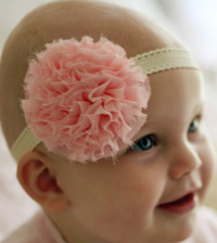 Rosie baby headband on cream elastic