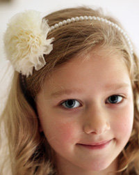 Claire flower on pearl headband