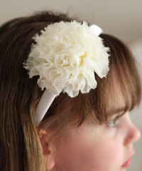Claire flower on cream headband