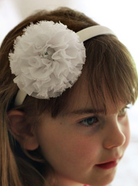Eva sparkle flower on white headband