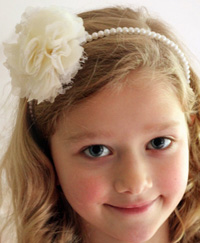 Lacey flower on pearl headband