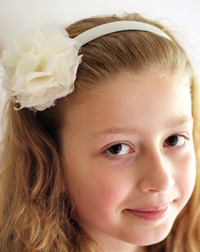 Lacey flower on white headband