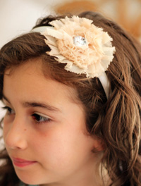 Madeline sparkle flower on cream headband