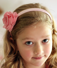 Sarah flower on pink headband
