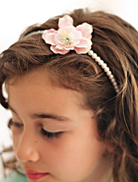 Amelie flower on pearl headband