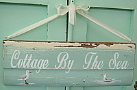 "HP052 Hand Painted ""Cottage By The Sea"" sign with Seagulls - on chippy original architectural salvage"