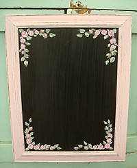 HP061 Hand Painted Roses on Framed Shabby Chic Blackboard/Chalkboard