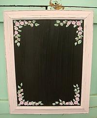HP061 Hand Painted Roses on Framed Shabby Chic Blackboard/Chalkboard