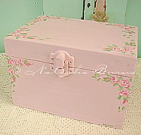 HP073 Hand Painted Roses on Pink Wood Jewellery Box