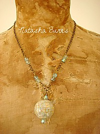 J014 Handmade Jewellery Jewelry Necklace with Rare vintage shell mosaic ball pendant OOAK  - & MATCHING EARRINGS