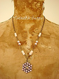 J016 Handmade Jewellery Jewelry Necklace with Rare vintage mercury glass beads & sparkly pendant  OOAK (pink)  - & MATCHING EARRINGS