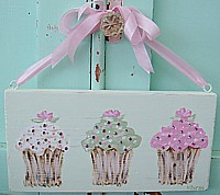 OP031 Original Painting on green wood panel -Cupcakes with Rhinestones - So shabby chic!