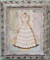 Ruffled Gown Original Painting on Vintage Wallpaper