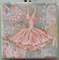 Gown on vintage wallpaper little painting