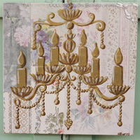 Chandelier Original Painting on Vintage Wallpaper