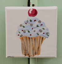Cupcake little painting  blue with spots & cherry