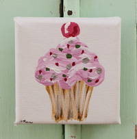 Cupcake little painting  lavender with spots & cherry