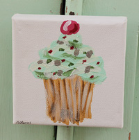 Cupcake little painting  green with spots & cherry