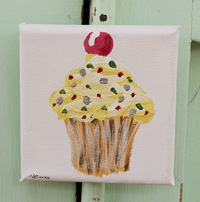 Cupcake little painting  lemon with spots & cherry