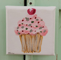 Cupcake little painting  pink with spots & cherry