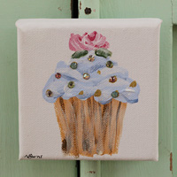 Cupcake little painting blue with rose and sparkle