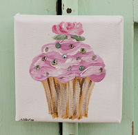 Cupcake little painting lavender with rose and sparkle