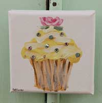 Cupcake little painting lemon with rose and sparkle