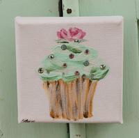 Cupcake little painting mint with rose and sparkle