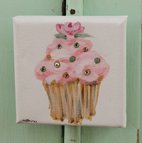Cupcake little painting pink with rose and sparkle