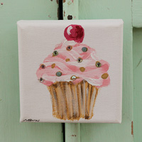 Cupcake little painting pink with cherry and sparkle