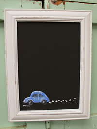 Beetle car painted on blackboard/chalkboard