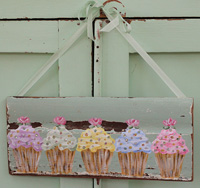 Cupcakes with roses & crystals painted on old architectural salvage