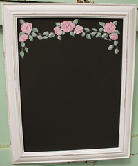 Roses painted on blackboard/chalkboard